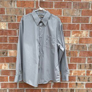 Gray Button Down with Pocket Fitted  Size 18 34/35